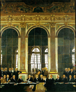 Dr Johannes Bell signs the Treaty of Versailles in the Hall of Mirrors, with the various Allied delegations sitting and standing in front of him. (Wikimedia)